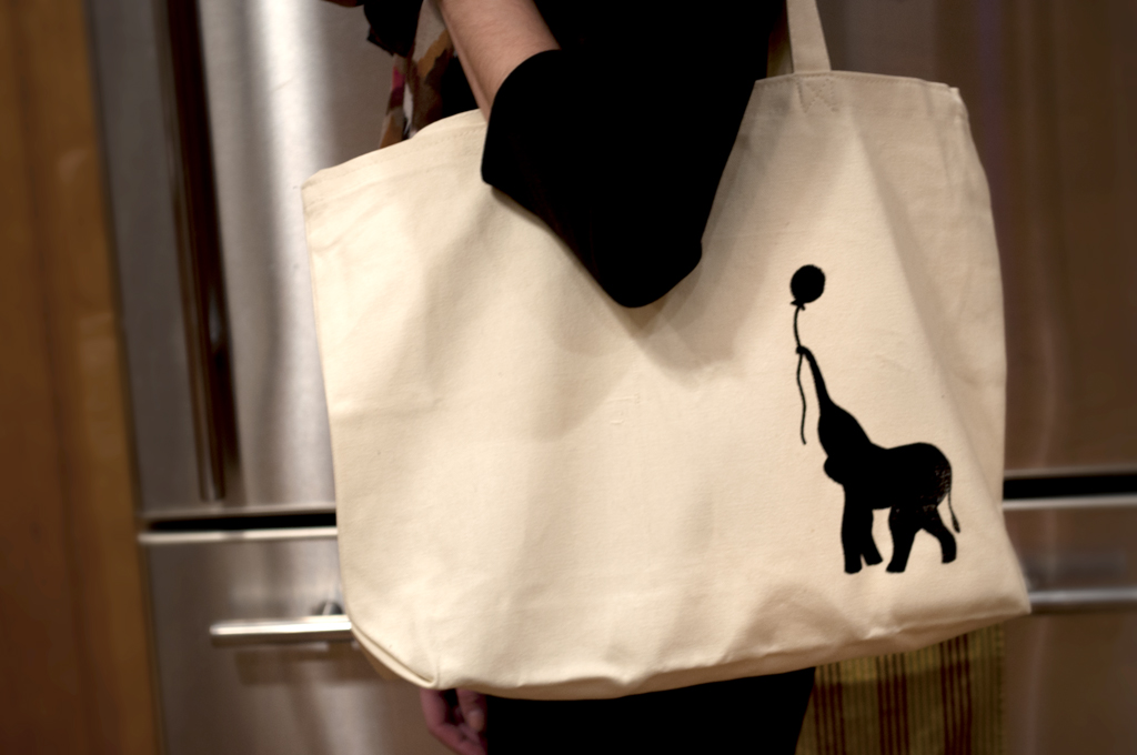 Screen Printed Elephant Tote